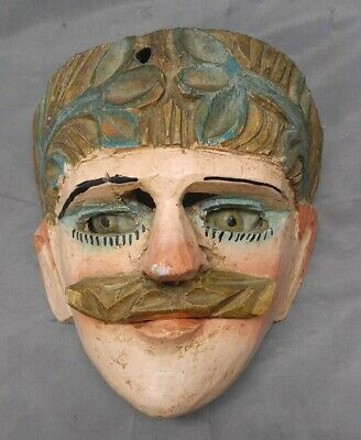 Antique Old Vintage Hand Carved Wooden Mask Reverse Painted Glass Eyes