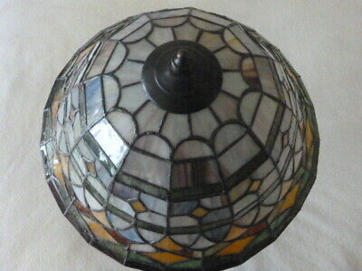 Leaded Glass Ceiling Light Fixture Multi-Color 3-Bulb Vintage