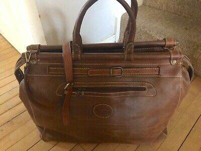 Vintage Gladstone Brown Tan Leather Holdall Weekend Travel Shoulder Bag