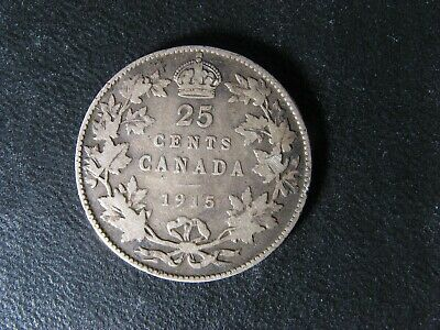 25 cents 1915 Canada King George VI silver coin c ¢ quarter VG-8