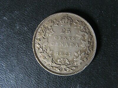 25 cents 1921 Canada King George VI silver coin c ¢ quarter VG-8