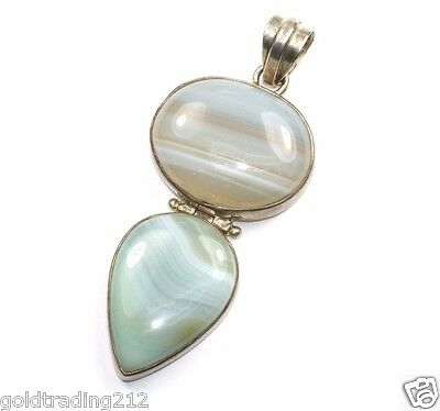 Vintage Two Stones Oval Teardrop Blue Agate Inlay Pendant 925 Sterling Pd 1068
