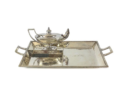 2pc Marcus & Co. Sterling Silver Smoking Set, c.1920. Oil Lamp, Cigar Tray Rest
