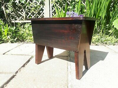 Vintage Wooden Sewing Craft Box Milking Stool Wood Retro Antique Small Kids Step