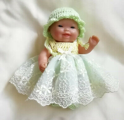 """Doll Clothes Hand Crochet & Tulle Dress Set For 5"""" Berenguer Doll by Sian"""