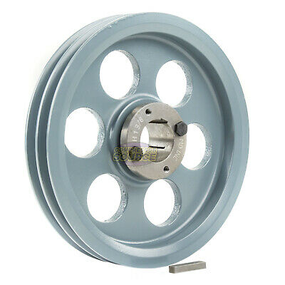 """Cast Iron 8.25"""" 2 Groove Dual Belt A Section 4L Pulley H-1-3/8"""" Sheave Bushing"""