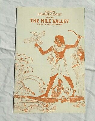 Ancient Egypt Nile Valley Map National Geographic 1965 Original Wall Decor