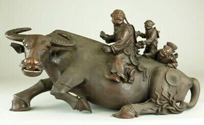 Massive Chinese Carved Wood Water Buffalo