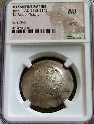 Byzantine Empire John II Aspron Trachy NGC AU Ancient Gold Coin