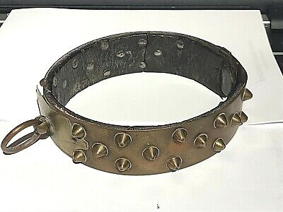 Antique 19Th C French Brass Leather Studded Dog Collar Collier De Chien