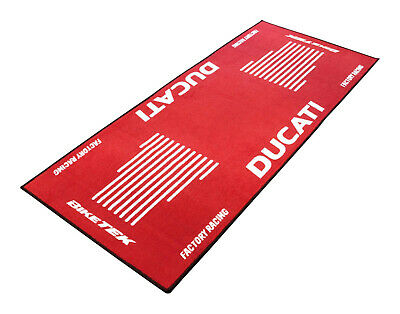 BikeTek Series 3 DUCATI Logo Garage Floor Rug Workshop Motorcycle Mat 190 X 80cm