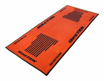 BikeTek Series 3 ORANGE Logo Garage Floor Workshop RUG Motorcycle Mat 190 X 80cm