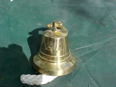 """Brass Ship's Bell, 5""""Diameter, 5"""" Tall With Mounting Bracket, Engraved"""