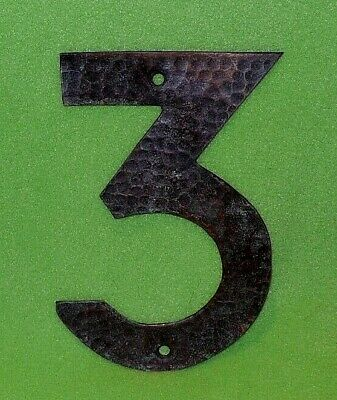 Number 3 hand hammered COPPER house number. Craftsman Arts & Crafts style.  6 ""