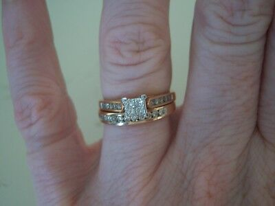 Bridal Wedding Ring Set-Rose Gold. Size L. New/Unworn