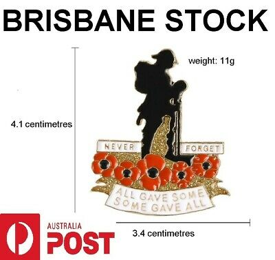 Red Poppy, Never Forget, , ANZAC, Badge, Hat Pin, Lapel Pin. Remembrance Day