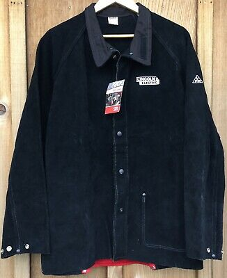 NWT Lincoln Electric Heavy Duty Leather Flame Resistant Welding Jacket K2989 XL
