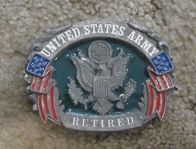 Belt Buckle United States Army Retired Vintage Pewter 1992 Made In Usa