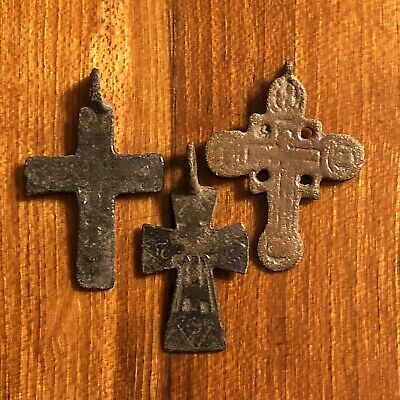 3 Authentic Medieval Byzantine Cross Orthodox Pendants European Artifacts Old
