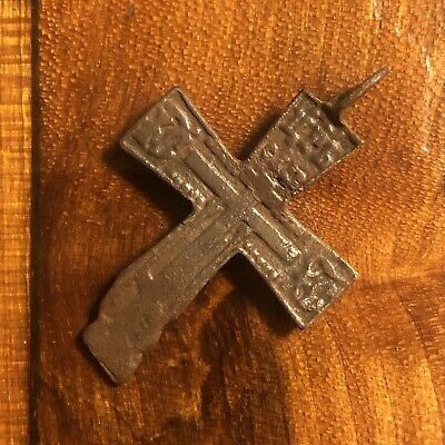 Pre-1750's Byzantine Cross Artifact Medieval European Russian Orthodox Pendant 3
