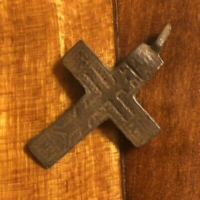 Pre-1750's Byzantine Cross Artifact Medieval European Russian Orthodox Pendant -