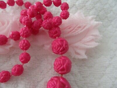 Stunning  Vintage Hot Pink Carved Beads , Just Gorgeous!