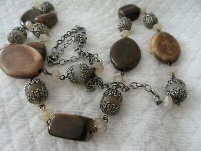 """Stunning  Vintage  Collectable """"Avon """" Earthy Tones Long Length ,Beads Necklace"""