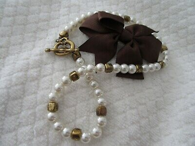 Stunning  Vintage  Faux Pearl Necklace With Toggle  Style Clasp
