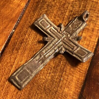 Pre-1750's Byzantine Cross Artifact Medieval European Russian Orthodox Pendant M