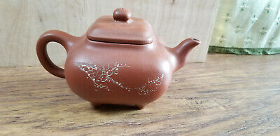 Chinese Yixing Zisha Clay Teapot With 4 Legs And Inscriptions