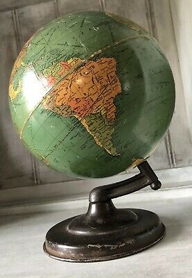 "ANTIQUE VINTAGE REPLOGLE STANDARD GLOBE 8"" PERSIA IRAN 1930's Unique Base"