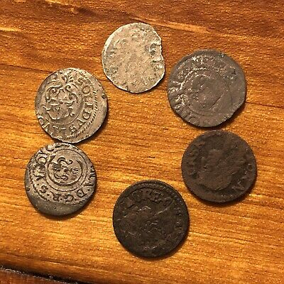 6 Medieval European Coins Silver & Copper Authentic Artifacts Catholic Tokens