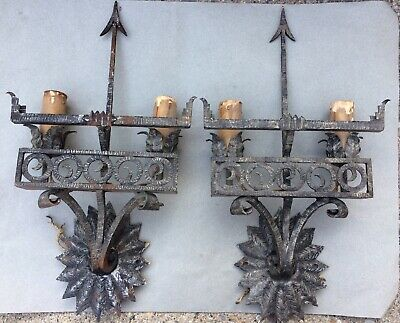 Two Antique Mission Arts And Crafts Style Sconce Lights Lamp Hand Forged Arrow