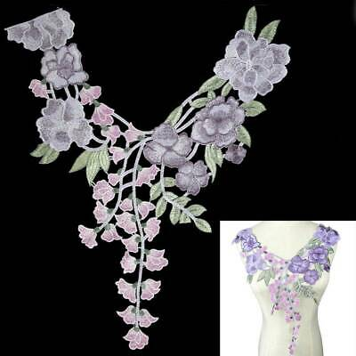 Neckline Collar Floral Neck Lace Embroidered Applique Sewing Trim Clothes Patch