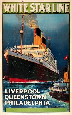 US Seller- 1920s White Star Line vintage travel ads posters wall deco