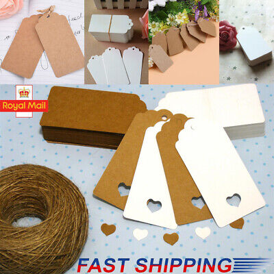 50/100pcs Kraft Paper Gift Tags Wedding Scallop Label Blank Luggage + Strings UK