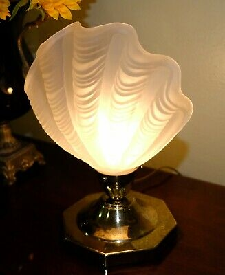 FRENCH Art Deco Thick Frosted Clamshell Glass Shade Table Lamp - Muller Freres?