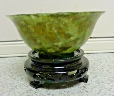 Spinach Jade Bowl - Chinese - Elegant  Green Jade Original Box Arts And Crafts