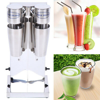 Commercial Stainless Milk Shake Machine Dual Head Drink Mixer 700ML x 2 Cups
