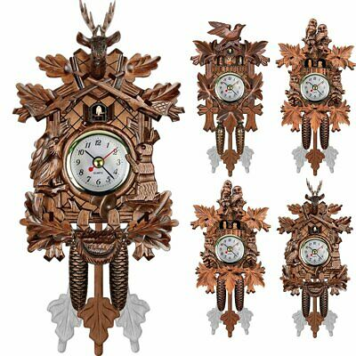 Vintage Wood Cuckoo Clock Forest House Swing Wall Alarm Handcraft Room Decor JR