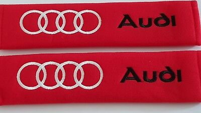 AUDI Red Set of Seat Belt Pads Cover Cushion all MODELS  S LINE R8 TT RS Q5 Q7