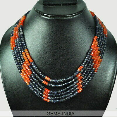 "330 Cts Natural Blue Kyanite Orange Carnelian Beaded 6 Strands Necklace 17""-19"""