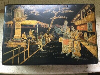 Antique Japanese lacquered paper mache chinoiserie box with oriental figures