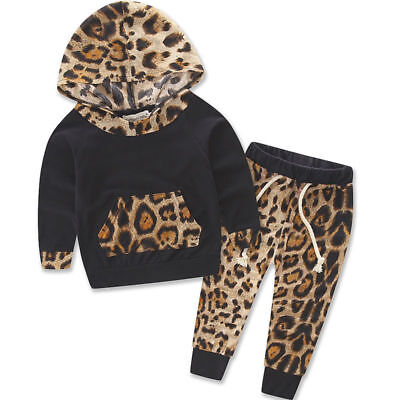 Baby Girl Set Leopard Print Tracksuit Hoodie Trousers 2 pcs Leopard Outfit Kids