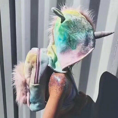 Rainbow Unicorn Backpack Teen Girls Party Hippy Soft Fluffy Backpack Dye Ombre