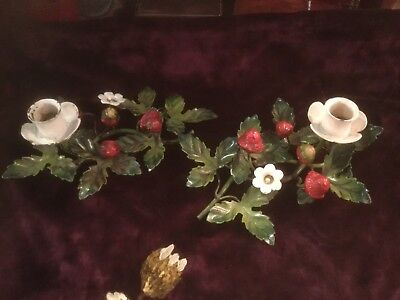 Vintage Italian tole pair candle holders with strawberries shabby chippy garden