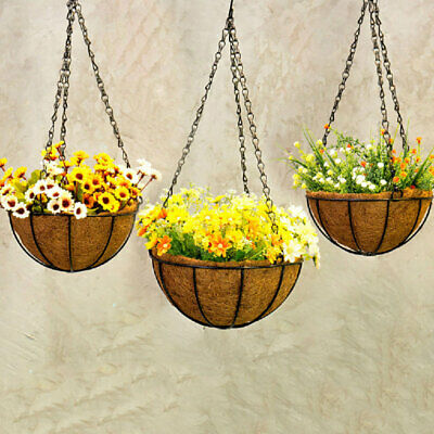 Hanging Planter Hanging Flower Basket Pack with Coco Coir Liner Metal Chain RBK
