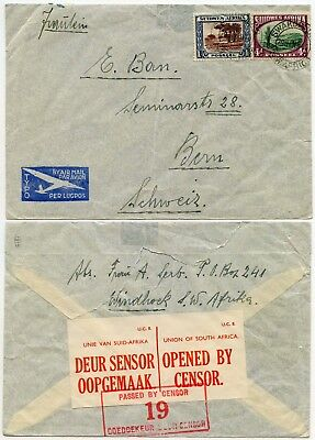 SOUTH WEST AFRICA AIRMAIL CENSORED 19 HANDSTAMP PICTORIALS FRANKING to BERNE