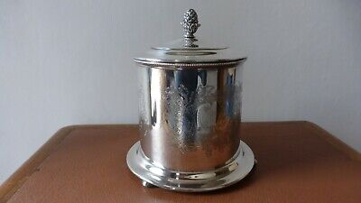 Sheffield. Antique siver plated biscuit barrel box engraved. Boite à biscuits.