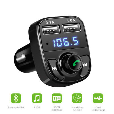 Wireless FM Transmitter Bluetooth Audio MP3 Player Dual USB Charger Car Kit